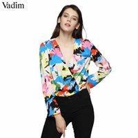 Frauen v-ausschnitt Blumen-bunten Druckbodysuits Cross Design Langarm-Playsuits weibliche Streetwear-Tops Blusas KZ1203 Q190507
