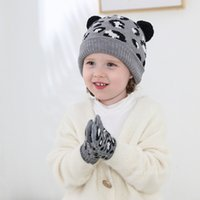 Party Hats Leopard Print Children's hat gloves set Warm Skull Caps Christmas Baby knitted hat Jacquard Earmuff T2I52978