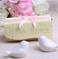 Commercio all'ingrosso-Nizza 100 set = 200 pz Popolare Matrimonio favore Amore uccelli Salt e Pepper Shaker Favori per il regalo del partito 1310 V2