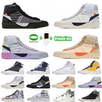 [Bilezik + Çorap + Orijinal Kutusu] Sacai X Nike Blazer Mid Deconstructed Double Hook Catwalk Co-branded Trailblazer High-Top Casual Shoes Off White x Blazer Mid OW Sneakers