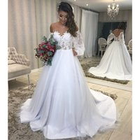 2021 Modern Bateau Bohemian Wedding Dress Juliet Long Sleeve Romantic Lace appliques V Open Back Bridal Gowns Vestidos De Novia New