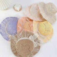 Casquettes de paille Chapeaux enfants Baby filles Enfants Accessoires Summer Herbe Braid Dentelle Princess Beach Fashion Pearl 3-8y B4854