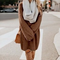 Casual Dresses Chic Sweater Dress Women 2021 Autumn Long Sleeve Solid Soft Plush Woolen Knitted Midi Loose Winter Warm Pullover