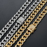 Men Hip Hop Chain 12mm Prong Setting Micro-inlaid AAA Zircon Iced Out Bling 18K Real Gold Plating Necklace Bracelets Fashion Jewelry For Gift