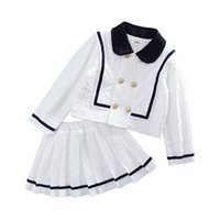 Girls Outfits Kids Clothing Sets Baby Clothes Children Suit Spring Autumn Long Sleeve Shirts Pleated Skirts Princess Wear 2Pcs B8464