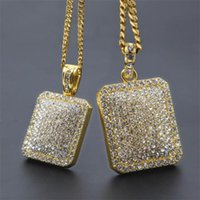 Mens Gold Cuban Link Chain Fashion Hip Hop Necklace Jewelry with Full Rhinestone Bling Diamond Dog Tag Iced Out Pendant Necklaces 128