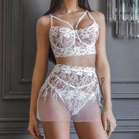 Flower Embroidery Women Lingerie White Lace Transparent Bra Thong Mini Skirt 3pcs Set Exotic Underwear Sous Vetement Femme