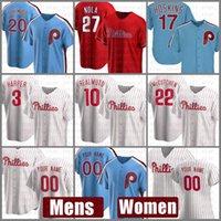 Filadélfia Mens Phillies Mulheres Baseball Jersey 10 JT RealMuto Bryce Custom 3 Harper 20 Mike Schmidt 10 Darren Daulton 17 Rhys Hoskins