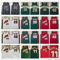 Malha costurada homens detlef 11 Schrempf jerseys vintage verde branco cor vermelha Gary 20 Payton Shawn 40 Kemp Basketball College Camisas