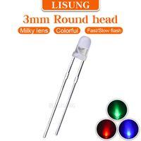 가벼운 구슬 1000pcs / 가방 3mm RGB LED 7 색 2 다리 IC로 빠른 느린 깜박이는 둥근 확산 밀키 FullColor 다이오드 2 핀 구멍을 통해