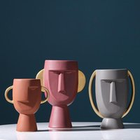 Nordic Face Body Ceramic Vase Human Head Flower Pot Modern H...