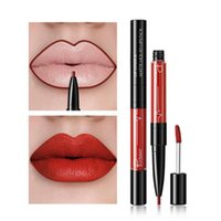 Lápis lápis 2in1 liner duplo revestimento de batom cosmético caneta impermeável matte de veludo maquiagem tonalidade sexy hidratar