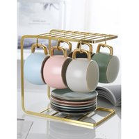 Nordic Ceramic Coffee Cup Set Organizer Matte Frosted Aftern...