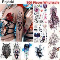 Rejaski 100 Pieces Wholesale Original Temporary Tattoo Flash Body Art Rose Tatoo For Men Women Fake DIY Owl Henna Tattoo Sticker
