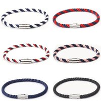 Charm Bracelets Fashion Nylon Rope Magnetic Clasp Male Bangles Wrap Braided Wristband For Women Couple Gifts