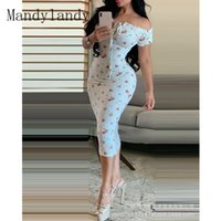 Ethnic Clothing Mandylandy Women Elegant Floral Print Drawstring Skinny Pencil Dress Ladies Summer Sexy Short Sleeve Off Shoulder