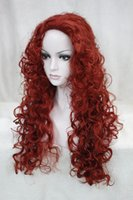 New charming fashion sexy cosplay Dark red synthesis of female wavy long curly woman's full wig