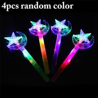 Fashion Glowing Toy Magic Light Sticks Children Dress Up Crystal Star Moon Stick Party Decoration Supplies Color Random