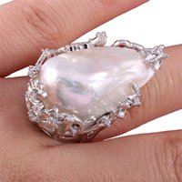 Baroqueonly Natural Freshwater Pearl 925 Silver Ring Huge Size High Gloss Baroque Irregular Pearl Ring, Women Gifts Ra J190721 948 Q2