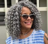Brazilian Remy Kinky Curly Cinzento Cabelo Cabelo De Cabelo Cinzentos Cinzentos Crochet Tranças Afro-americano Drawstring Clipe Na Extensão Cabelo Gray 120g 140g