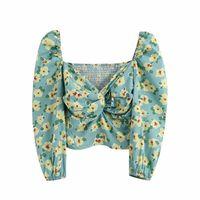 Женские блузки Рубашки 2021 Блузка Женщины Плюс Размер Винтажные Топы Одежда Зеленый Цветочный Принт Жаринг Рубашка Оригинальная Вадиминг Женщина BGB2237