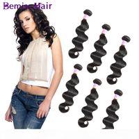 Bemiss satıcılar işlenmemiş brezilyalı saç demetleri doğal siyah sağlık ve güzellik vücut dalga Perulu bakire insan saç uzantıları 6 coutries