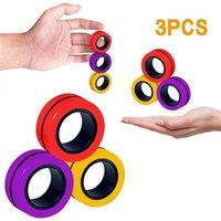 Anti-Stress Anéis Magnéticos Fidget UNZIP Toy Magic RingTools Crianças Anel Magnético de Dedo Spinner Anel Adulto Decompression Brinquedos
