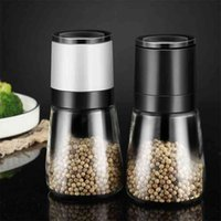 Manual salt and pepper grinder pulverizer Transparent glass jar spice seasoning bottle grain mill sprayer 210611