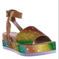 Sandalias Fanan 2021 para mujeres Cuñas de verano Bling Gladiador Zapatos de punta abierta Tacones Rhinestone