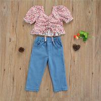 Pieces Kids Suit Sets Children Girls Floral Print V-Neck Short Sleeve Crop Tops+ Solid Color Jeans Long Pants For Summer Clothing