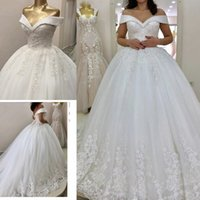 Off the Shoulder Puffy Wedding Dress For bride Lace Appliqued Beaded Court Train Lace-up Back Vestido De Noiva Plus Size Ball Gowns Bridal Dresses Women Custom Made