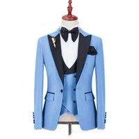 Personalice un botón Guapo GRANDE PEQUEÑO SALA DE SALMADOS TUXEDOS HOMBRES DE SOMBROS PARA HOMBRES DE BODA / PROMO / CENA MAN Blazer (chaqueta + pantalones + chaleco) Blazers de hombre