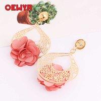 Oweyr 2019 novas mulheres brincos coreanos moda jóias cute flor soltar dangle rosa brincos bohemian declaração jóias zs1032 y0709
