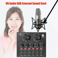 Sound Cards V8 2 Channel USB Audio Card Bluetooth-compatible External Headphone Microphone Mobile Webcast Live