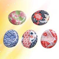 Chopsticks 5pcs Ceramic Rest Japanese Style Sakura Pillow Rack Spoon Fork Holder (Random Pattern)