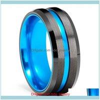 Wedding Jewelrywedding Rings 8Mm Men Black Tungsten Carbide Ring Wholesale Blue Groove Beveled Edge Celtic Dragon Red Carbon Fibre Band Drop