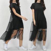 Mulheres Estilo Coreano Preto Vestido Longo Manga Curta Malha Rastreado Vestido Balanço Midi Beach Party Dress