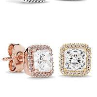 925 Стерлингового серебра квадратный квадрат Большой CZ Diamond Серьги Fit Pandora Ювелирные Изделия Золото Розовое Золото покрыто Серьги Серьги Серьги 515 Q2