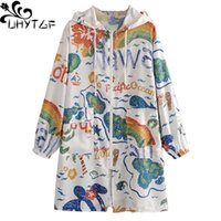 Women's Jackets UHYTGF Women Colorful Printed Thin Hooded Trench Coat Female Korean Loose Summer Sun Protection Clothing Long Outerwear1166