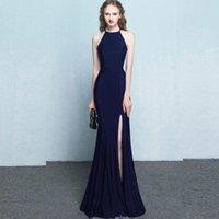 Abendkleider sexy navy blau 2021 mermaid lang ärmelloses party prom kleid besondere formale anlass