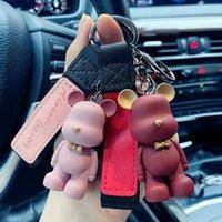 الكرتون الإبداعي الدب المفاتيح الأزياء الشرير الحيوان كيرينغ للمرأة حقيبة سيارة قلادة سلاسل المفاتيح زوجين هدية 6 ألوان