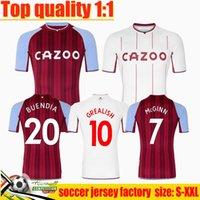 21 22 Aston Villa Soccer Jerseys Buendía Traore Barkley 2021 2022 Accueil Elevé Watkins Wesley El Ghazi M.Trezeguet McGinn Shirt de football Hommes Kit Uniforme