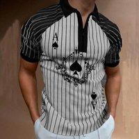 Poker Ace Muster Herren Reißverschluss Poloshirt Hohe Qualität Komfortable Atmungsaktiv Moderne Kühle Tägliche Reisearbeitsgruppe