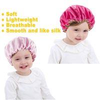Кусочки Детские сатинские боннеты ночные колпачки, регулируемые двойные слои спальные шапки, душевые шапки для девочек малыша