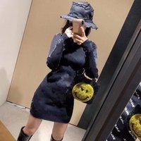2021 Новая мода Женская с длинным рукавом Письмо Печать вязаное платье Bodycon Panting платье плюс размер S M l
