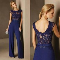 Elegant Navy Blue Jumpsuit Pant Dresses Evening Wear 2021 Sexy See Thourgh Top Lace Prom Gown Satin Formal Party Dress Chic Robe De Soirée Mariage