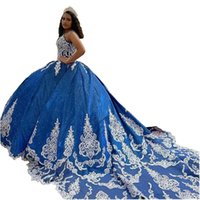 2022 Bling Dark Blue Sequins Tulle Quinceanera Dresses Long Train Ivory Floral Applique Beaded Crystal V-neck Lace-up Sweet 15 16 Girls Prom Dress