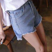 여성 반바지 봄 여름에 신제품 : 짧은 뒤쪽 및 긴 머리 가장자리, 밝은 파란색 높은 웨이스트 블랙 핫 바지가있는 데님