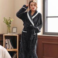 Women's Sleepwear Autumn Winter Women Flannel Bath Robes Mens Towel Robe Warm Bathrobe Thicken Lengthen Coral Fleece Kimono Nightgown Plus S