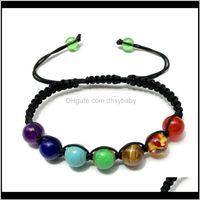 Perlé, brosses bracelets bijoux Livraison 2021 8mm à sept couleurs arc-en-ciel Tissage de la pierre Guérisseur Reiki Prière Balance de prière Yoga 7 Chakra Bracele
